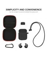 RED SHIELD [Made for Apple Airpods]  Case Cover. 6 in 1. Silicone Case, Strap, Holder, Eartips Carabiner Buckle and Storage Bag. [Black]