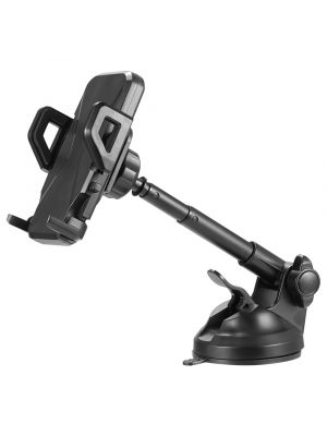 Universal Dashboard and Windshield Hands-Free Car Mount Phone Holder with Metal Telescopic Extension Arm, 360 degrees Rotation And Quick Lock and Release