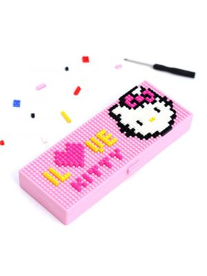 Eutuxia Blocks Cartoon Pencil Case. Enjoy Thinking Creatively with Assembled Cute Cartoon Pencil Box. Great DIY Building Stationery for School Students. Creative, Decorative & Easy to Remove. [Pink]