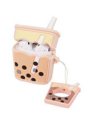 RED SHIELD [Made for Apple Airpods]  Case Cover. 3D Boba Milk Tea with Ring Strap