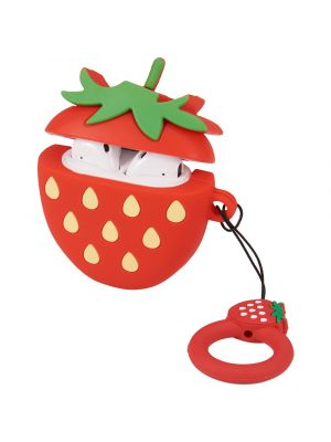 RED SHIELD [Made for Apple Airpods]  Case Cover. 3D Strawberry with Ring Strap