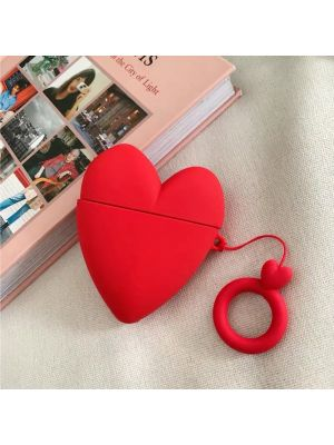 RED SHIELD [Made for Apple Airpods]  Case Cover. 3D Heart with Ring Strap. [Red]