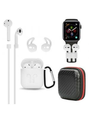 RED SHIELD [Made for Apple Airpods]  Case Cover. 6 in 1. Silicone Case, Strap, Holder, Eartips Carabiner Buckle and Storage Bag. [White]