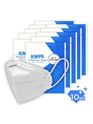 KN95 Face Mask GB2626-2006, Filtration 95%, Pack of 10, Disposable Breathable & Protective Mask with Comfortable Wide Earloop, Each Mask Packaged in Sealed Bag, Protect from Virus Pollution Allergies