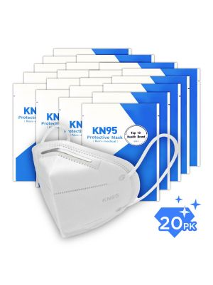 KN95 Face Mask GB2626-2006, Filtration 95%, Pack of 20, Disposable Breathable & Protective Mask with Comfortable Wide Earloop, Each Mask Packaged in Sealed Bag, Protect from Virus Pollution Allergies