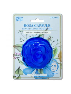 PICKYSKIN Azulene Rosa Capsule, Relaxing and Soothing, Bio-Cellulose Facial Mask with Natural Coconut Water for All Skin Types [1 Sheet]