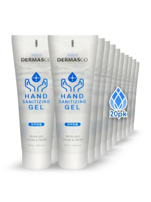 DERMASCO Instant Hand Sanitizer Gel, Non-Sterile Solution, Pump Bottle Type, Reduce Bacteria Germs on Your Skin, No Sticky, Deep Moisturizing, For All Day Use, 50ml (20PK)