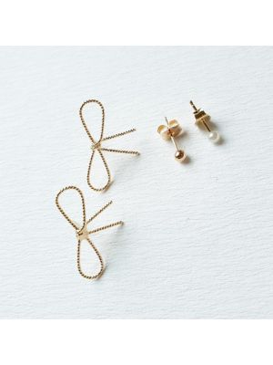 Eutuxia Small Luxury Hypoallergenic Earrings for Women & Girls, 2 Sets, Adorable Ribbon Jewelry, Gold Titanium Surgical Stainless Steel Stud Piercing Earrings Set, Unique Cute Lovely