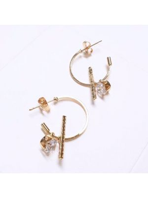 Eutuxia Small Luxury Hypoallergenic Hoop Dangle Drop Earrings with Bar for Women & Teens, Adorable Cubic Jewelry, Gold Titanium Surgical Stainless Steel Circle Stud Piercing Earrings Set