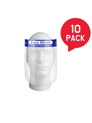 Face Shield Set of 10, All-Round Protection with Clear Wide Visor Spitting Anti-Fog, Lightweight Transparent Shield with Adjustable Elastic Band for Men Women