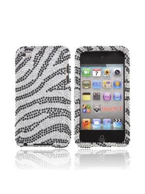 Made for Apple iPod Touch 4 Bling Hard Case - Silver/Black Zebra by Luxmo