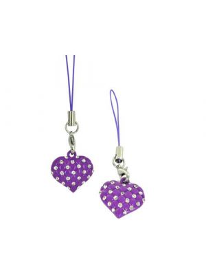 Heart w/ Clear Gems & Mini Heart Cutouts Cellphone Charm/ Strap - Purple