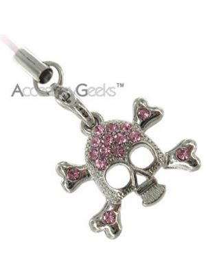 Silver Skull Face w/ Cubic Stones Charms/Straps - pink