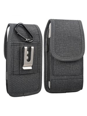 """LUXMO Vertical Faux Leather Holster Pouch w/ Magnetic Closure Belt Clip and Belt Loops forMega 6.3"""" / Lg G Flex for Size Devices [Black]"""