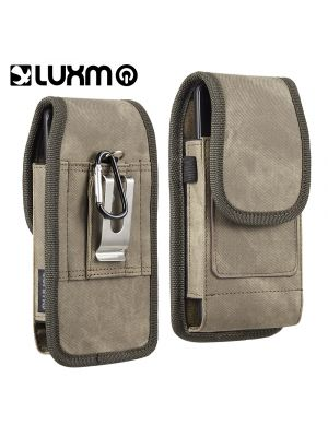 LUXMO Vertical Faux Leather Holster Pouch w/ Magnetic Closure Belt Clip and Belt Loops forGalaxy Note / I717 for Size Devices [Light Brown]
