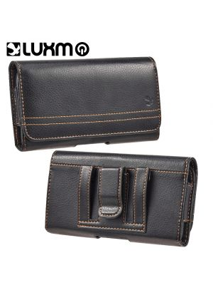 LUXMO Compatible with Samsung Galaxy Note / I717 for Size Devices Horizontal Faux Leather Holster Pouch w/ Magnetic Closure Belt Clip and Belt Loops [Black]