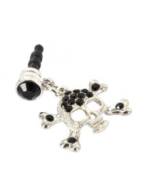 3.5mm Headphone Jack Stopple Charm - Silver Skull w/ Black Gems