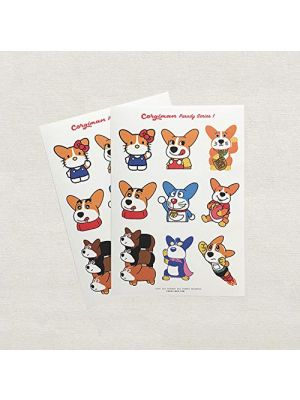 Eutuxia Corgi Parody Stickers, Trendy Cute Pet Animal Character Sticker for Teens Girls Boys & Adults. Perfect Decal for Diary Notebook Laptop Desk Board Computer Monitor Luggage & More, 2 Pack