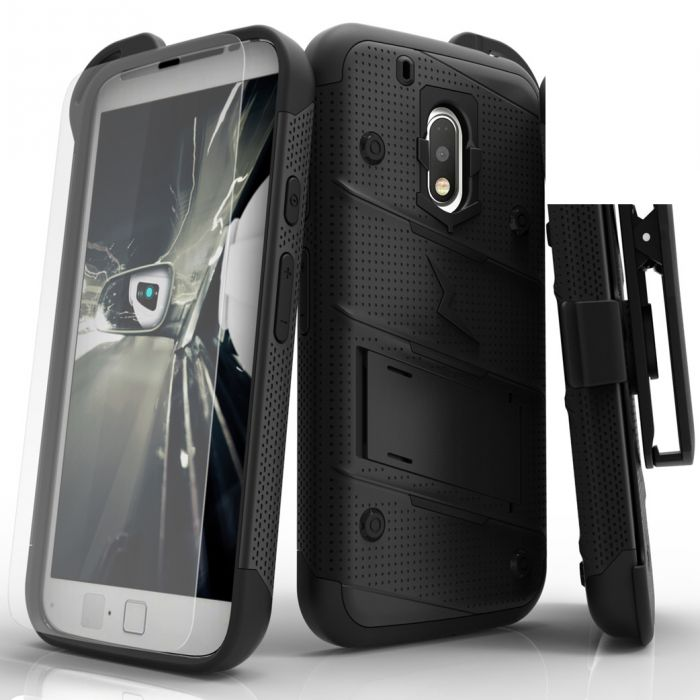 best sneakers b4df1 b78cb Made for [Motorola Moto G4/ Moto G4 Plus]-Bolt Series: Heavy Duty Cover w/  Kickstand Holster Tempered Glass Screen Protector & Lanyard [Black]