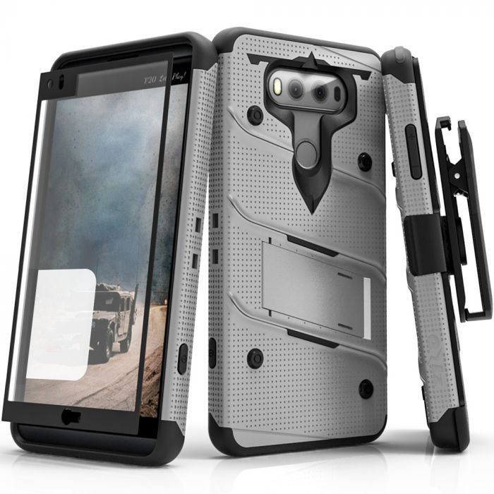 Made for [LG V20]-Bolt Series: Heavy Duty Cover w/ Kickstand Holster  Tempered Glass Screen Protector & Lanyard [Gray/ Black]