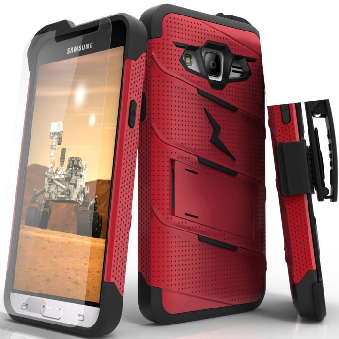 the latest c6ce5 7ac64 Made for [Samsung Galaxy J3/ Galaxy Express Prime/ Galaxy AMP Prime]-Bolt  Series: Heavy Duty Cover w/ Kickstand Holster Tempered Glass Screen ...