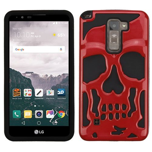 purchase cheap 3309c 379d1 LG Stylo 2 Plus Case Skull Hybrid Dual Layer Hard Case on Silicone Skin  [Red]