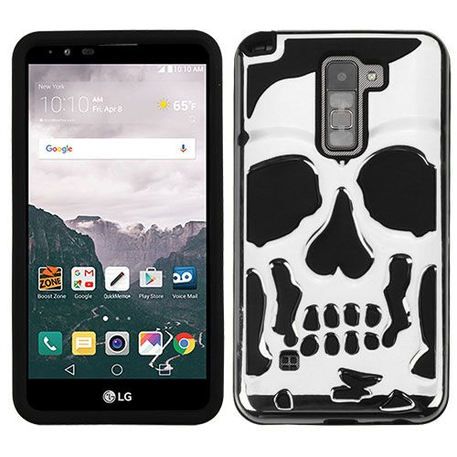 LG Stylo 2 Plus Case Skull Hybrid Dual Layer Hard Case on Silicone Skin  [Silver]