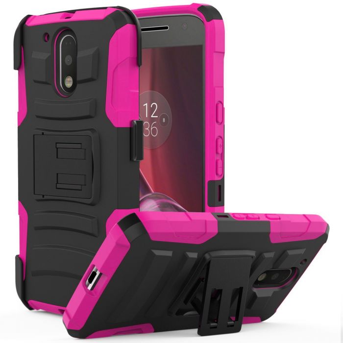 promo code 395fa db593 Motorola Moto G4/ Moto G4 Plus Holster Case REDshield [Hot Pink] Supreme  Protection Hard Plastic on Silicone Skin Dual Layer Hybrid Case with Travel  ...