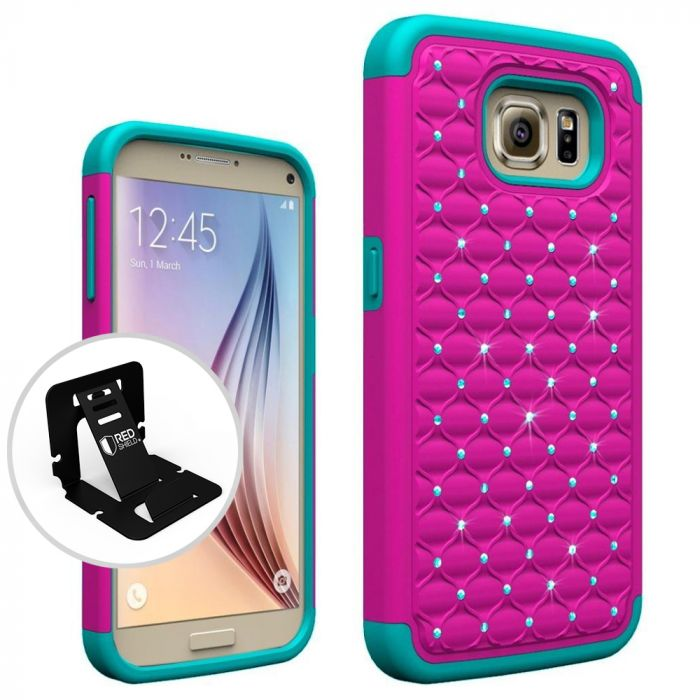 pretty nice fe266 f0924 Samsung Galaxy S7 Bling Case Redshield [Hot Pink/ Mint] Supreme Protection  Bling Plastic on Silicone Dual Layer Hybrid Case with Travel Wallet Phone  ...