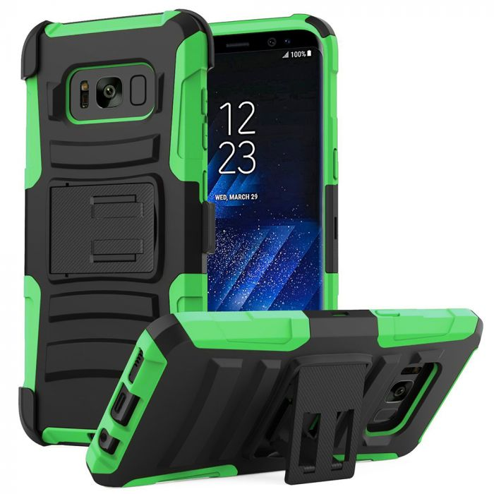 newest 2c4db 18aeb Samsung Galaxy S8 Plus Heavy Duty Case Dual Layer Hard Case w/ Kickstand on  Silicone Skin Case w/ Holster [Neon Green/ Black] with Travel Wallet Phone  ...