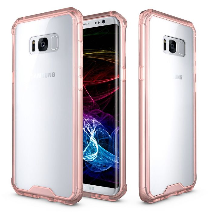 on sale 6baa7 056f3 Samsung Galaxy S8 Bumper Case Crystal Back Bumper Case [Drop Protection]  [Baby Pink] Flexible Border Case with Travel Wallet Phone Stand