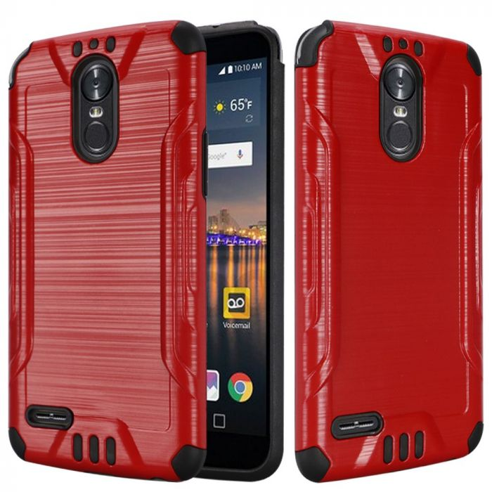 new style bdbd9 8b8c4 LG Stylo 3/ Stylo 3 Plus Hybrid Case Slim Armor Brushed Metal Design Hybrid  Hard Case on TPU [Red] with Travel Wallet Phone Stand