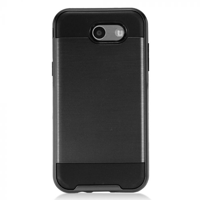 new style 4c748 2945e Samsung Galaxy J3 Emerge Case Brushed Metal Hybrid Hard Case on TPU [Black]  with Travel Wallet Phone Stand
