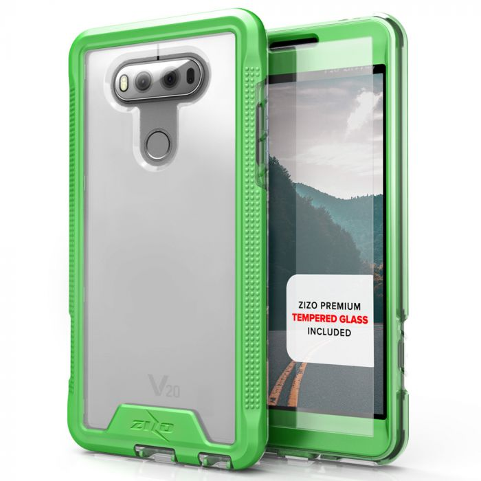 LG V20 Case ION Single Layered Shockproof Protection TPU & PC Hybrid Cover  w/ Tempered Glass [Neon Green/ Clear]