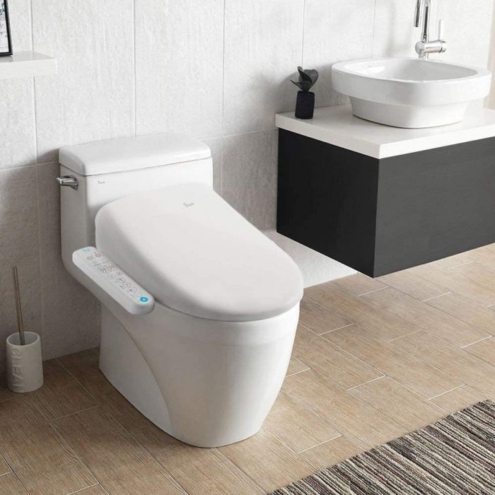 Inus Heated Bidet Toilet Seat Elongated Self Cleaning Stainless Steel Nozzle Tankless Direct Flow Instant Heating