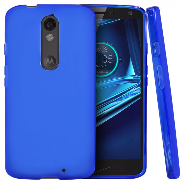 watch 97716 6592e Motorola Droid Turbo 2 Case [Blue] Slim & Flexible Anti-shock Crystal  Silicone Protective TPU Gel Skin Case Cover