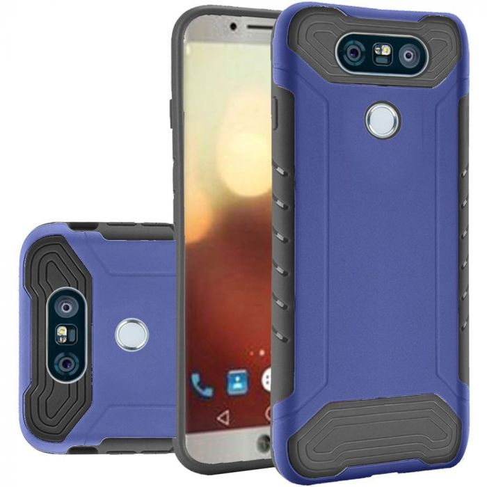 LG G6 Hybrid Case Shockproof Protection TPU & PC Hybrid Cover Case [Blue/  Black] with Travel Wallet Phone Stand