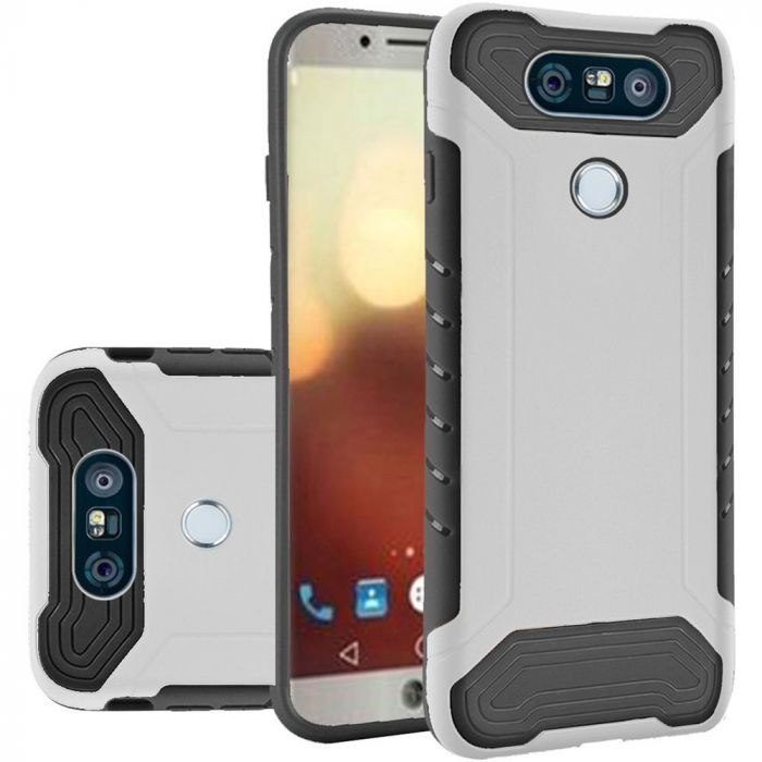 LG G6 Hybrid Case Shockproof Protection TPU & PC Hybrid Cover Case [White/  Black] with Travel Wallet Phone Stand