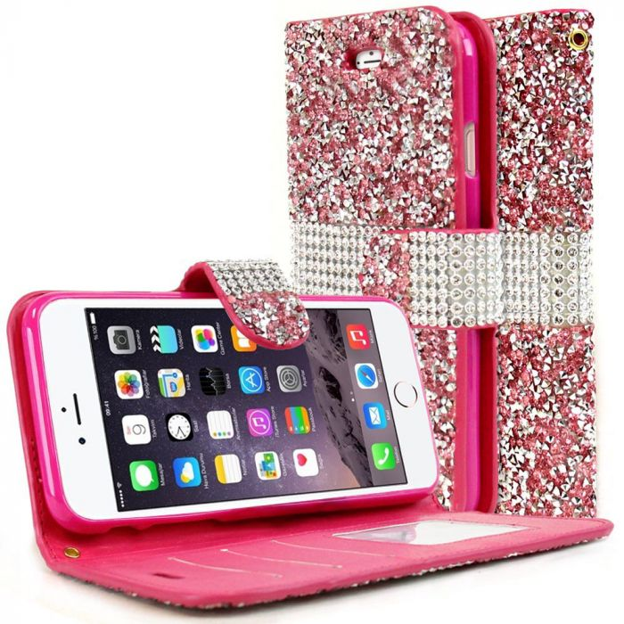huge discount 47780 1a7ad Made for Apple iPhone 8/7/6S/6 Wallet Case [Pink Shiny Sparkling Gem w/  Silver] Kickstand Feature Luxury Faux Saffiano Leather Front Flip Cover  with ...