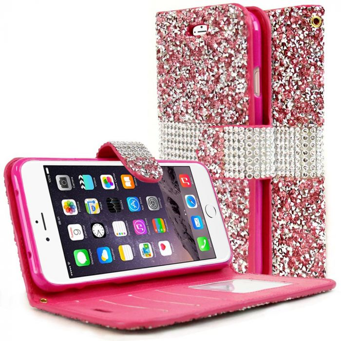 10484b65e8c Made for Apple iPhone 8/7/6S/6 Plus Wallet Case [Pink Shiny Sparkling Gem  w/ Silver] Kickstand Feature Luxury Faux Saffiano Leather Front Flip Cover  ...