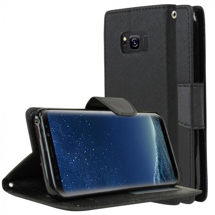 Samsung Galaxy S8 Wallet Case [Black] Kickstand Feature Luxury Faux  Saffiano Leather Front Flip Cover with Built-in Card Slots Magnetic Flap  with