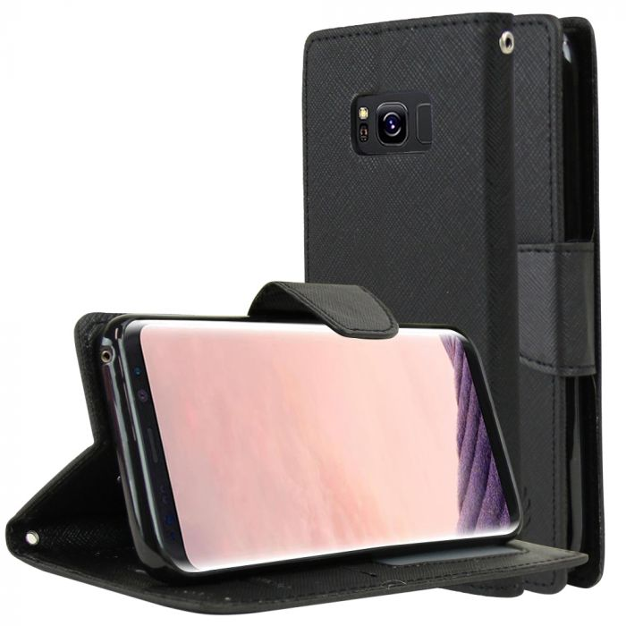 online store 11a06 9fc0e Samsung Galaxy S8 Plus Wallet Case [Black] Kickstand Feature Luxury Faux  Saffiano Leather Front Flip Cover with Built-in Card Slots Magnetic Flap  with ...