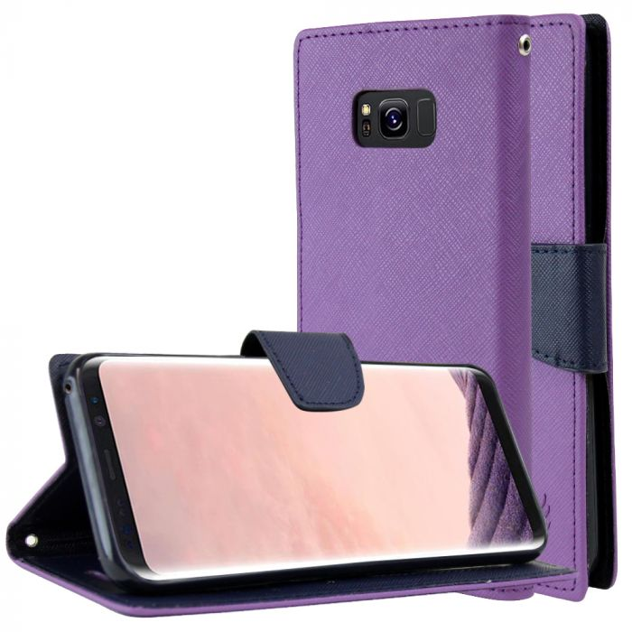 cheaper 723d7 d535a AccessoryGeeks.com | Purple/ Navy Faux Leather Wallet Case with ...